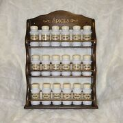 Vintage 18 Swirl Milk Glass Spice Bottles W/ Original Labels And Wall Mount Wood R