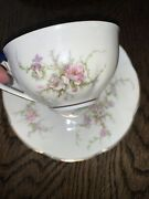 Theodore Haviland Rosalinde Ny Fine China Pink Flowers Teacup And Saucer Mint