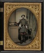 Photo Civil War Confederate In Officerand039s Uniform With Sword