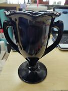 L.e. Smith Black Amethyst Glass Double Handled Loving Trophy Cup Vase