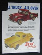 1947 Willys-overland Jeep Trucks 10x13.5 Automobile Color Print Ad Vg 4.0