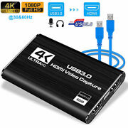 Usb3.0 4k 60fps Hdmi Video Capture Card Ps4 Game Zoom Record Audio Live Streamer