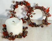 Candle Rings Dark Red Acrylic Berry Beads And Leaf Small Wreath