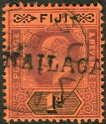 Fiji-1904-9 1d Purple And Black/red Damaged Frame And Crown. A Fine Used Sg 116a