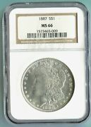 1887 1887-p Morgan Silver Dollar S1 Ngc Ms66 Ms-66 Better Date Older Holder