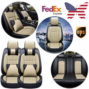 Automotive Interior Car Front Rear Seat Covers Pu Leather Protectors Cushion Set