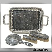 Antique Sterling Dresser Set Mirror Brushes Silver Plated Vanity Tray Monogramed