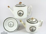 18th Century Chinese Export European Gilt Grisaille Porcelain Tea Pots And Saucer