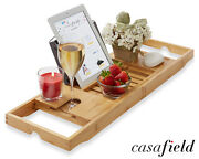 Bamboo Bathtub Caddy Over The Tub Bath Tray Holder For Wine Glass Tablet Phone