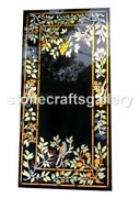 4and039x2and039black Marble Dining Table Top Multi Stone Birds Inlay Art Kitchen Deco B041