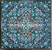 3and039x3and039 Black Marble Dining Table Top Turquoise Floral Inlay Arts Home Decors B051