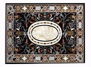 4and039x3and039 Black Marble Dining Table Top Scagliola Handmade Art Home Kitchen Dec B052