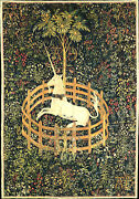 Hunt Of The Unicorn Captivity French Wall Tapestry 24 X 35 Canvas Fabric