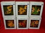 Holiday Time Collectables 6 Hand Painted Cold Cast Mice Christmas Ornaments Nib