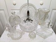 Lot Of 10 Clear Cut/pressed Glass Footed Bowl, Vase, Plate, Compote, Pitcher ++