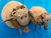 Primitive/country Look Stuffed Plush Sheep Set Of 2 1-lg And 1-sm W/ Bells