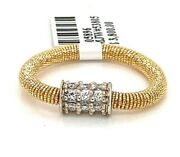14k Two Tone Gold 0.50ct Diamond Stretchy Ladies Ring 2.3gm S105896