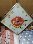 Vintage 1960and039s Old Dr. Pepper Light Up Pam Antique Advertising Wall Diner Clock