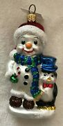 Nordstrom At Home Snowman With Penguin Christmas Ornament Hand Made In Poland