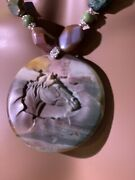 Carved Natural Succor Creek Jasper Horse Pendant Necklace And Earring Set