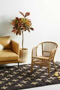 Vintage Rattan Chair Neutral Bamboo Seat Living Room Indoor Furniture 30.25h