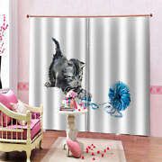 Blue Plush Toys Gray Tiger Cat Printing 3d Blockout Curtains Fabric Window