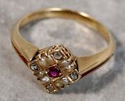 Antique 1910 14k Yellow Gold Ruby Pearl Triangular Ring