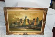 Large Vintage Oil Painting Cityscape Skyscrapers Waterfront Buildings Antonini