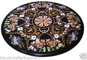30 Black Marble Coffee Side Table Top Inlay Marquetry Mosaic Restaurant Decors