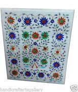 30x30 Marble Coffee Table Top Lapis Floral Inlay Gems Marquetry Patio Decor