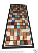 30x60 Marble Side Dining Table Top Mosaic Inlay Semi Precious Stone Home Decor