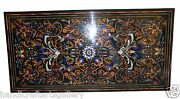 30x60 Black Marble Dining Table Top Floral Inlay Pitredura Living Home Decors