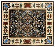 4and039x2and039 Marble Dining Table Top Pietra Dura Marquetry Inlay Occasional Decorative