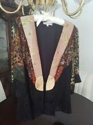 New Vintage Spencer Alexis Black Holiday Jacket Gold Seqins And Brown Xl