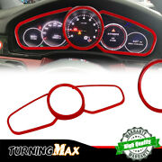 3x For 18 19 20 Porsche Cayenne Panamera Red Instrument Panel Trim Rings Covers