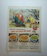 Lot Of 12 Vintage Campbell's Soup Print Ads Time For Good Hot Soup