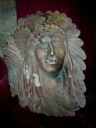 Southern Red Clay Indian Chief Plaque Wall Decor Metalhanger Artist Signed Guc