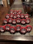 21 Pcs Vintage Red -white Lace Glass Drawer Cabinet Pull Knobs Hobby Lobby