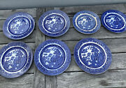 5 Allertons 6 3/4 Blue Willow Asian Plate Dish + 2 5 3/4 Dishes Antique