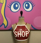 Moschino Couture Red White Sequin Stop Shop Sign Top Cropped Nwt