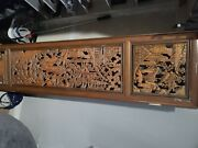 Two Small Vintage Asian Hand Carved Wood Panel./ Door /andnbsp