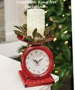 Farmhouse Kitchen Scale Clock Country Chippy Cranberry Red Finish Metal Cottage