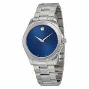Movado Junior Sport 0606116 Blue Dial Stainless Steel Menand039s Watch 1637