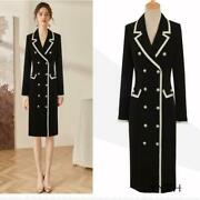 Women Winter Elegant Tailored Collar Double Breasted Suit Dresses Business Party