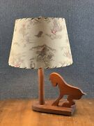 Mid Century Hand Crafted Rustic Walnut Old West Western Horse Table Tv Lamp