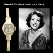 1960and039s Swiss Vintage Ladies Gold Plated Watch - Owned And Worn By Loretta Young