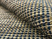 Water And Stain Resistant Navy Blue Brown Beige Cream Tweed Upholstery Fabric