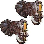 12 Set Of Two Elephant Candle Holders African Home Decor Wall Sconce Sculpture