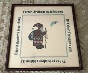 Completed Father Christmas Cross Stitch On Linen Framed W/ Glass 15 X 15