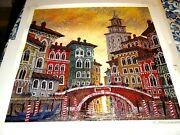 Anatole Krasnyansky Venice Yellow Sunset Seriolithograph Signed In Plate